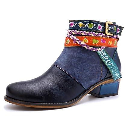 Imzoeyff Botines de Cuero para Mujer, Elegantes y Hechos a Mano Casual Oxford Boots Zapatos