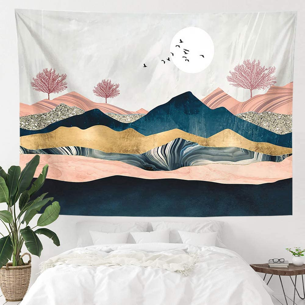 Amazon Com Anroye Sunset Mountain Landscape Tapestry Wall Hanging Nature Tree Forest Theme Sunrise Tapestries For Home Dorm Living Room Bedroom Decor For Men And Women With Hooks Clips 70x90 Inches Everything