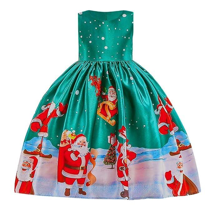 Qiusa Niñas Ropa de Navidad para bebé, Vestido de Swing con estampado de Santa de dibujos animados de moda Vestido de encaje elegante Patchwork Cintura alta ...