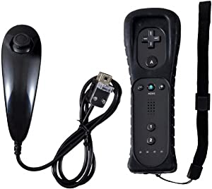 Prodico Wii Remote,Prodico Wii Controller with Nunchuck and Silicon Case for Wii Wii U(Black)