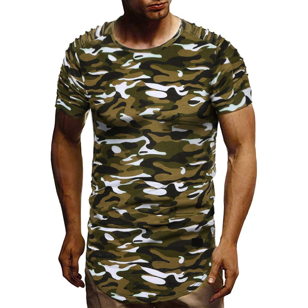 Summer Pleated Short-Sleeved T-Shirt,Fashion Men Top O Neck Casual Slim Blouse Camouflage by VEZAD (Image #1)