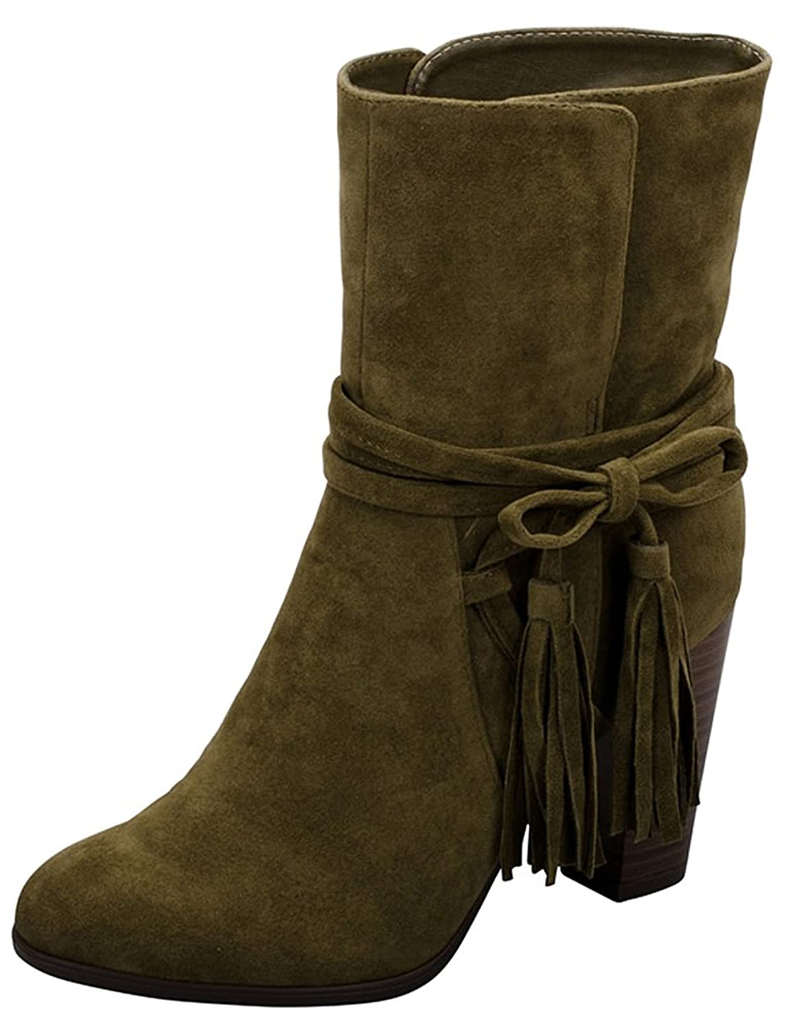 06e07d49d9c Breckelle s Women s Wrap Around Western Tassel Chunky Stacked Heel Ankle  Bootie