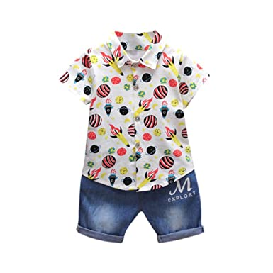 17ea9a53 Bestoppen Newborn Baby Boys 2Pcs Clothing Outfits Sets Cute Short Sleeve  Rocket Printing T-Shirt Tops+Denim Jeans Pants Set Baby Gift Cotton Clothes  for 1-2 ...