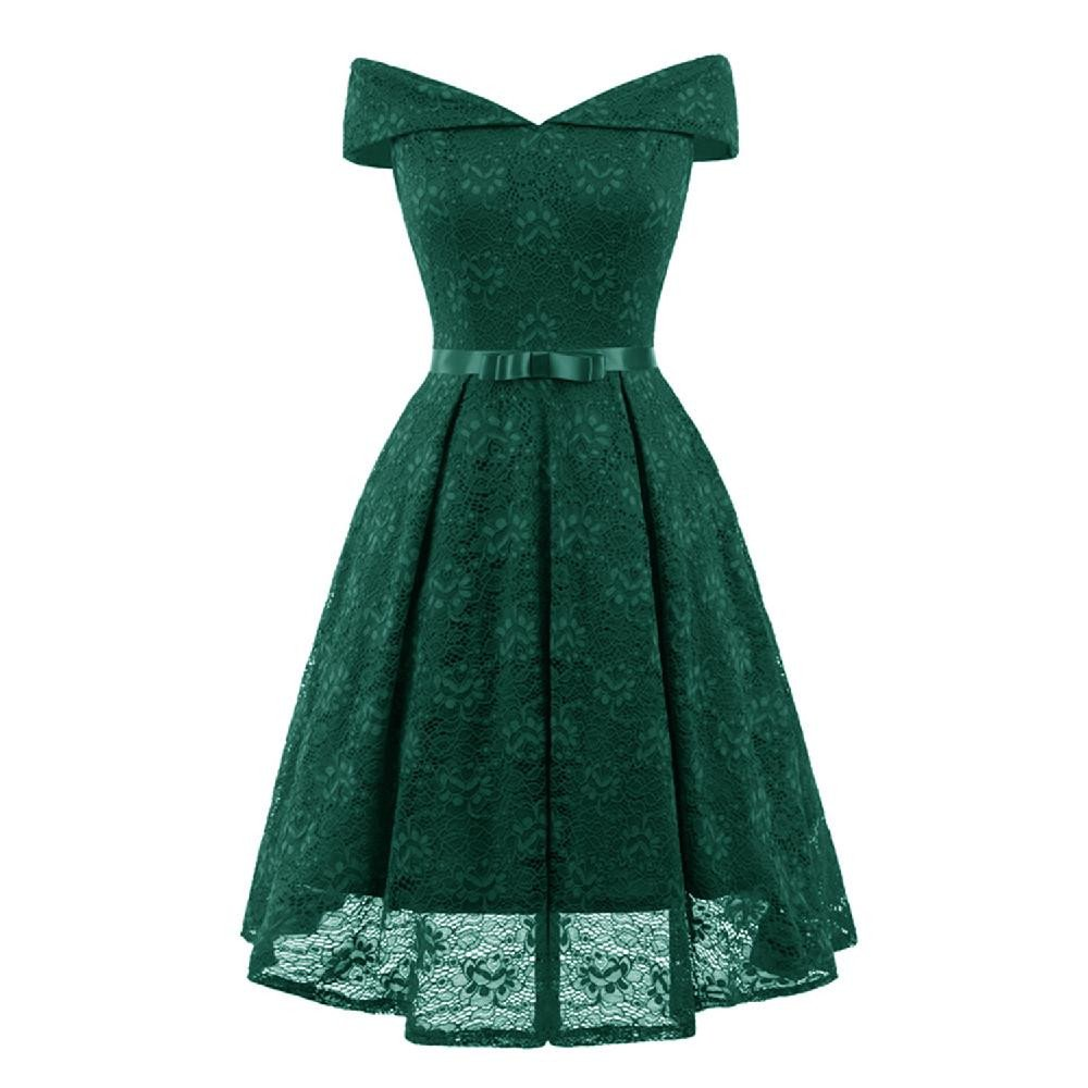 Hotcl Vintage Sleeveless A-Line Lace Bridesmaid Dress for Wedding Formal Party,Women Off Shoulder Cocktail Knee Length Dress (Green, S)