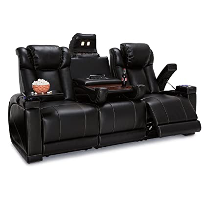 Delicieux Seatcraft Sigma Leather Gel Home Theater Power Recline Multimedia Sofa With  Fold Down Table (