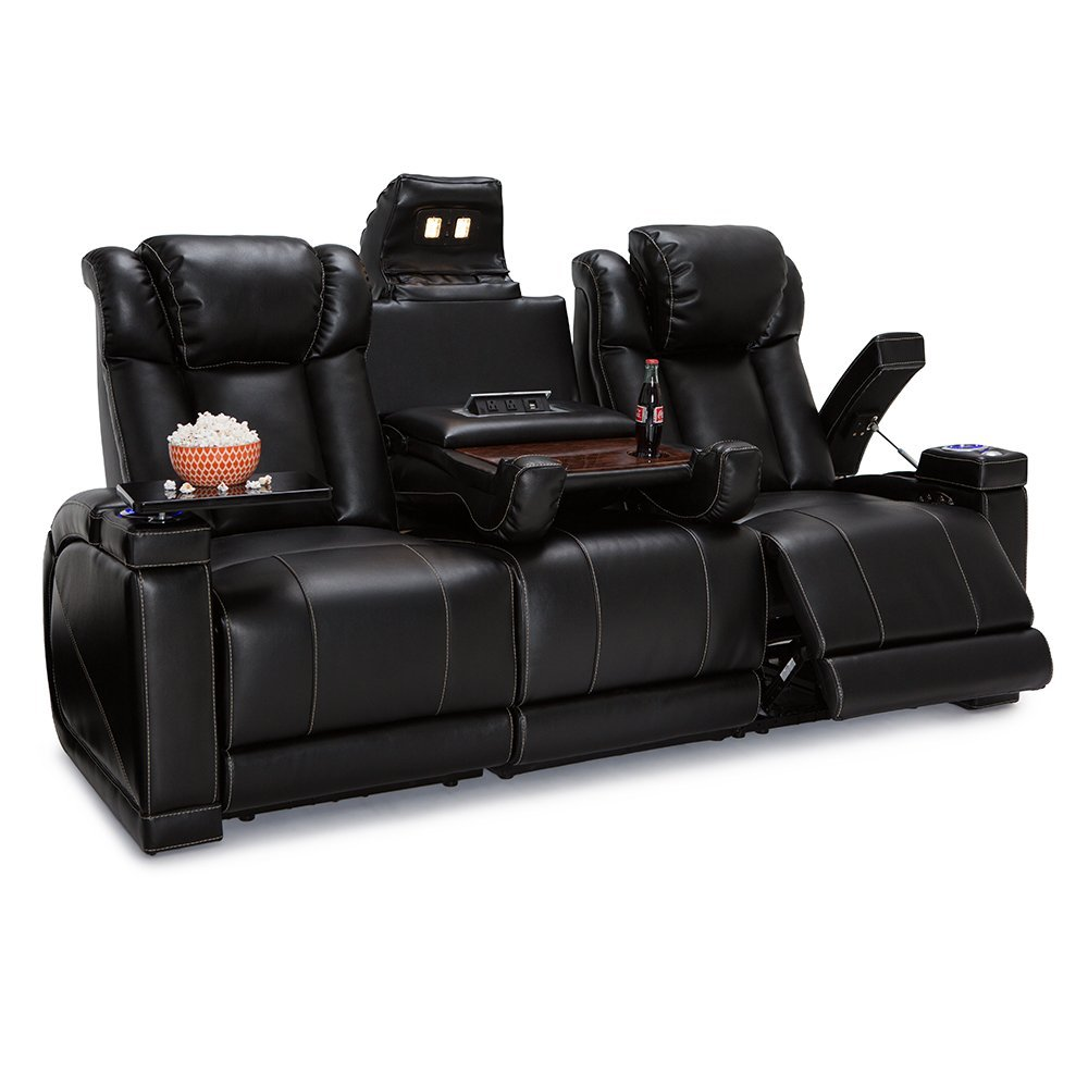 Lane Sigma Leather Gel Home Theater Power Recline Multimedia Sofa with Fold-Down Table (Black)