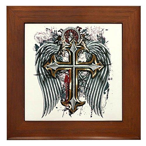 Framed Tile Cross Angel Wings ()