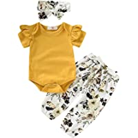SiQing - Conjunto de Ropa de Manga Corta para bebé + Pantalones Florales + Diademas