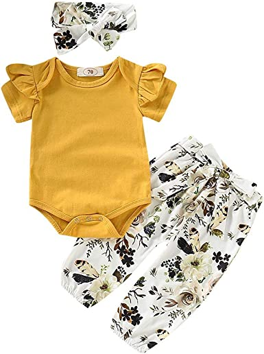 Headband Clothes Outfits Set Jumpsuit Fartido Baby Girls Solid Pink Romper