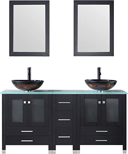 Walcut Black 60Inch Bathroom Vanity and Sink Combo MDF Cabinet