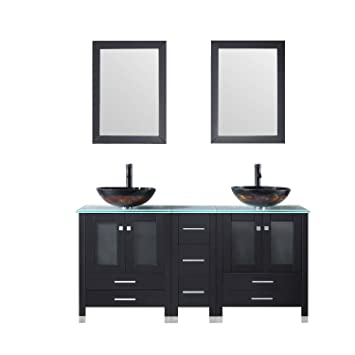 Walcut Black 60inch Bathroom Vanity And Sink Combo Mdf Cabinet With