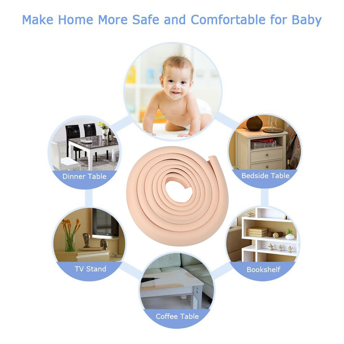 5.76mm thickness black JNTworld 4m length table edge Guard baby toddler cushion protector +4 corner soft Non-toxic and environmentally friendly