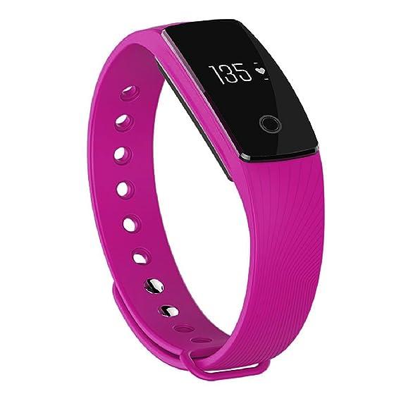Reloj inteligente para hacer deporte, indicador de ritmo cardíaco para Android IOS, bluetooth, ID107, color morado: Amazon.es: Relojes