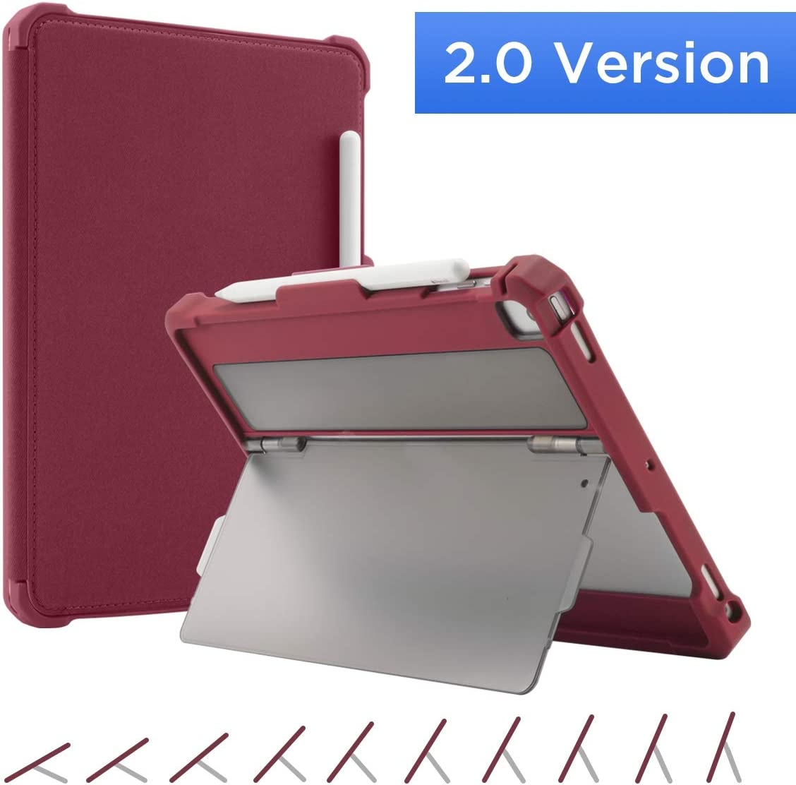 Maxjoy Case for 9.7 iPad 2018/2017, iPad Air 2/1 Case, iPad Pro 9.7 Case, Protective But Slim + Multi Angles Stand + Pencil Holder + Sleep/Wake Cover for iPad 9.7 inch 5th/6th Gen, [2.0 Version],Red