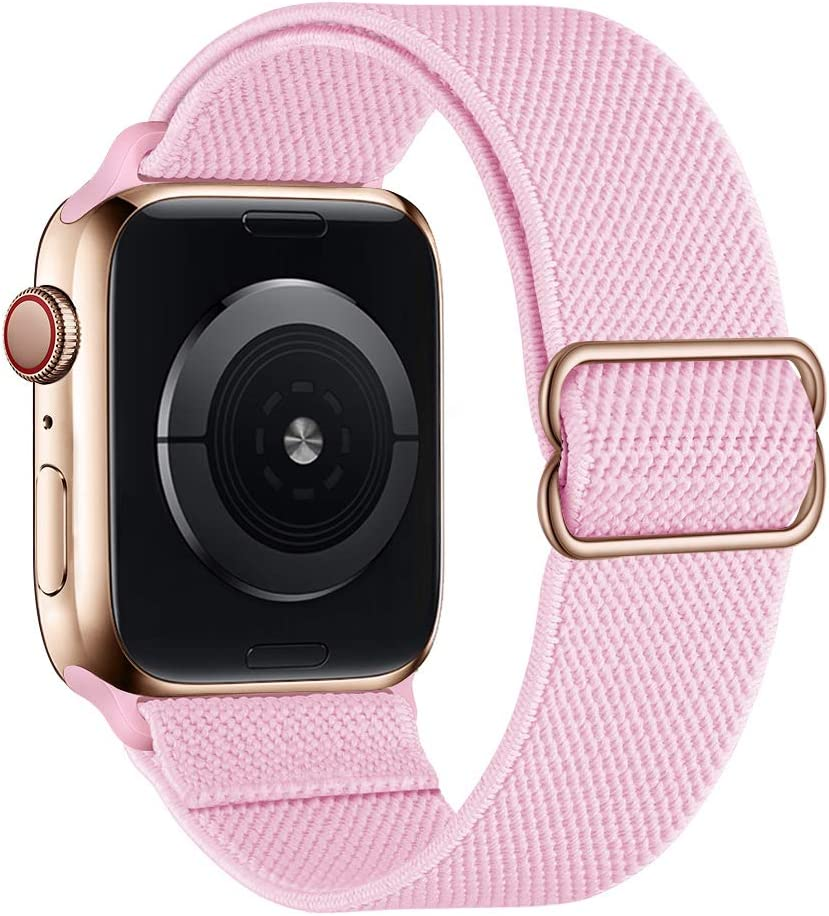 SIRUIBO Stretchy Nylon Solo Loop Bands Compatible with Apple Watch 38mm 40mm, Adjustable Stretch Braided Sport Elastics Women Men Strap Compatible with iWatch Series 6/5/4/3/2/1 SE, Pink