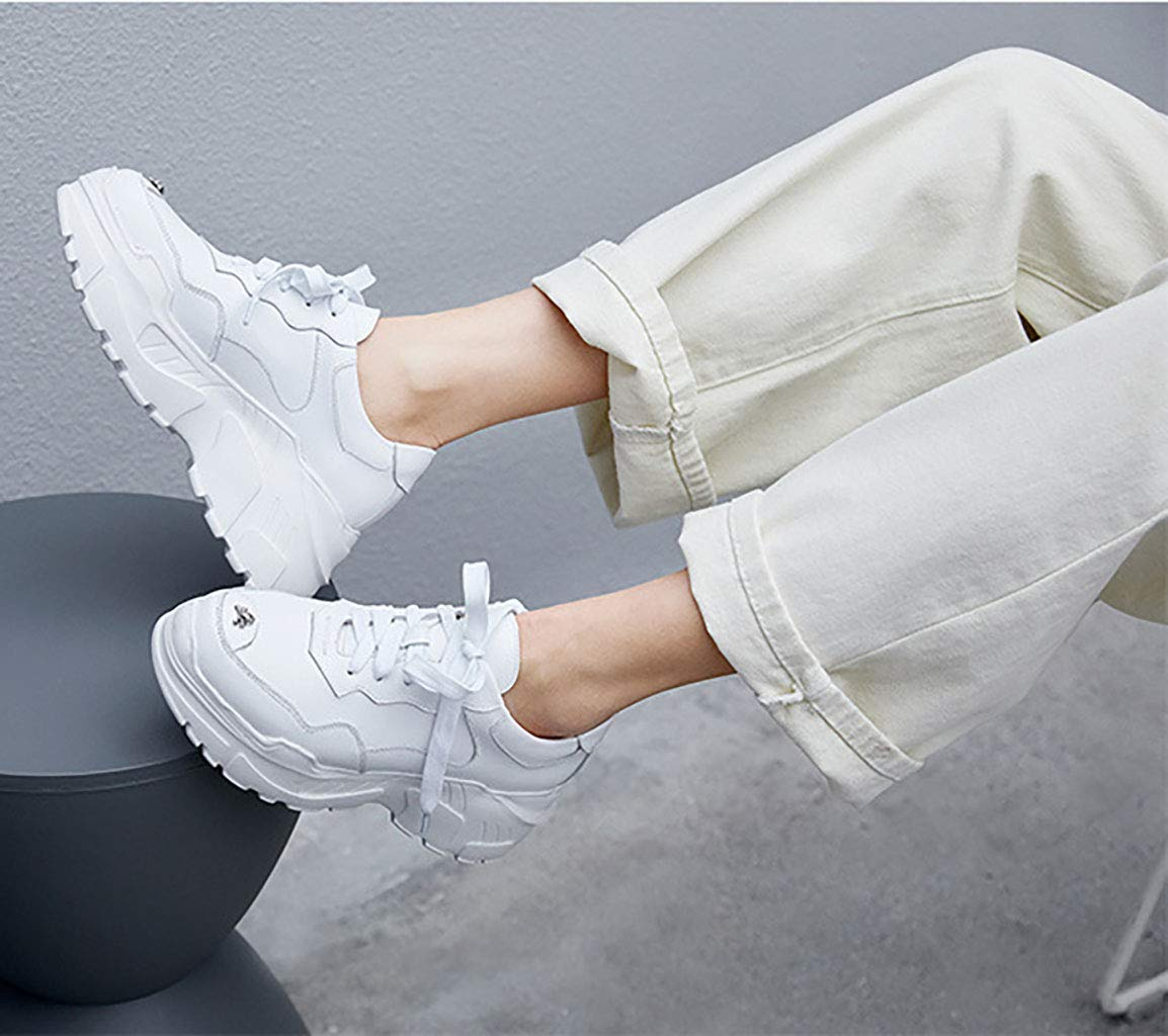 HRN Frauensportschuhe runder Lederkopf Dicker Dicker Dicker Boden erhöhte Schuhe Freizeitschuhe mit flachem Boden Winterstil Weiß 40EU ea9ce4