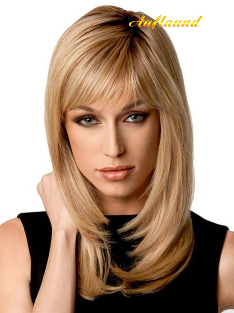 Natural Ombre Blonde Straight Wigs - Amorwig Shoulder Length Long Straight Blonde Hair Wigs With Darker Root For Women + Wig Cap
