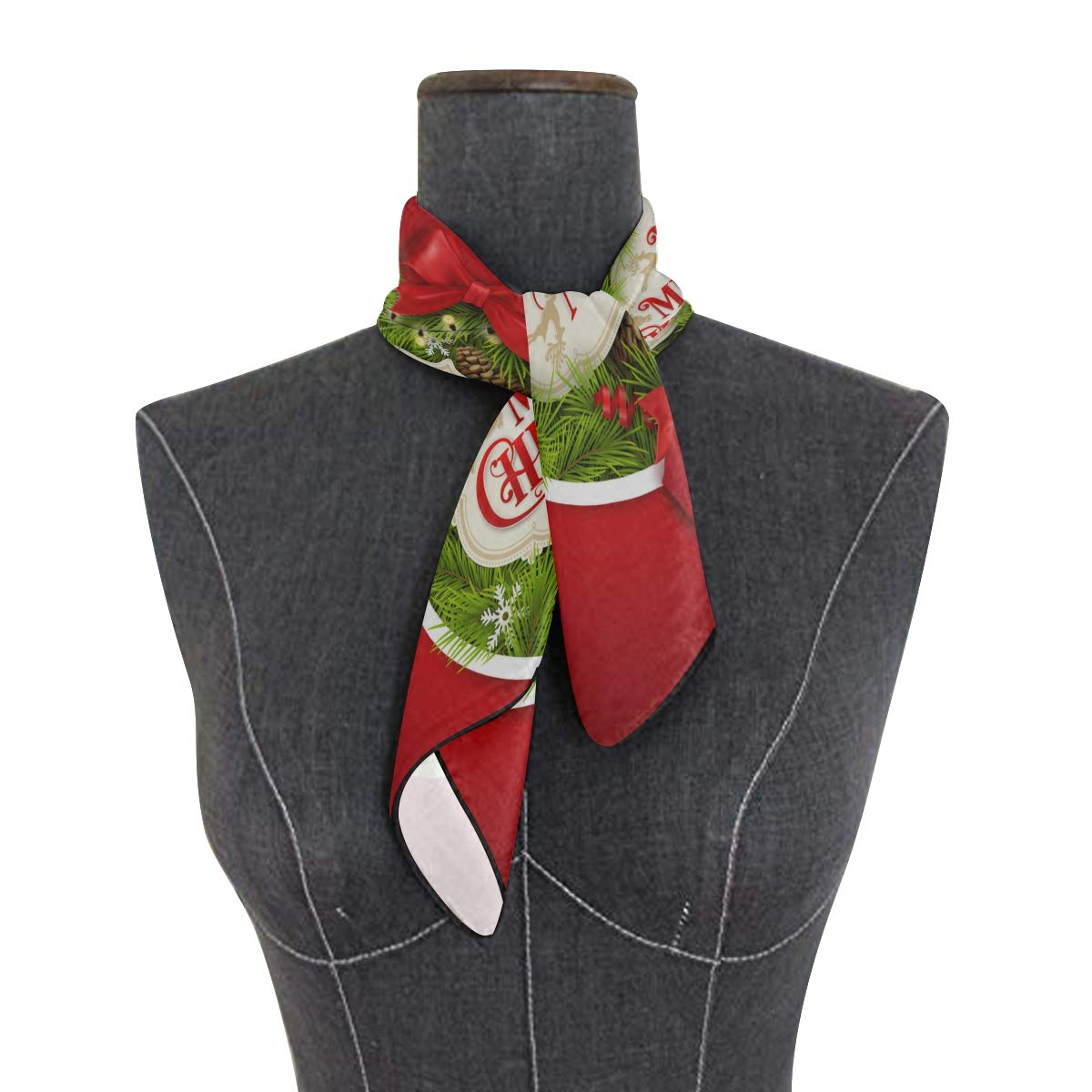 Soft Polyester Silk Large Square Scarf Fashion Print Green Christmas Tree Ring Head Scarf Women Thin Neckerchief Scarfs Women Multiple Ways Of Wearing Daily Decor