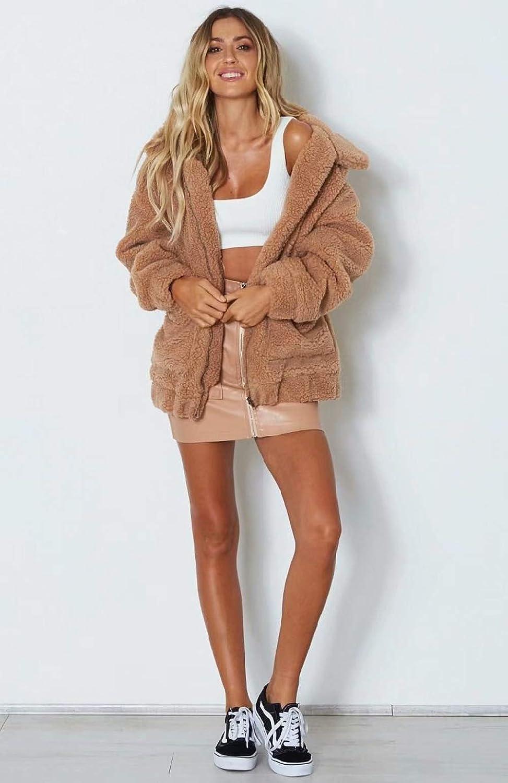 Vieliring Women Warm Cardigan Long Sleeve Plush Coat Fluffy Faux Fur Cardigan Winter Fleece Hooded Sherpa Jacket 8-22