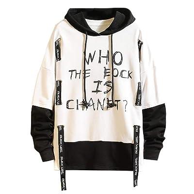 WINJUD Mens Hoodie Color Block Letter Print Street Sweatshirt Fashion Drawstring HoodedTop at Men's Clothing store