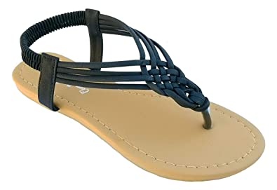 fa0624dae CmFncy Elegant Women s Fashion Black Gladiator Thong Flat Cute Sandals with  Rhinestones Black 5