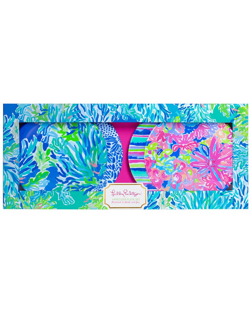 Lilly Pulitzer Wade & Sea Set Of 4 Appetizer Plates