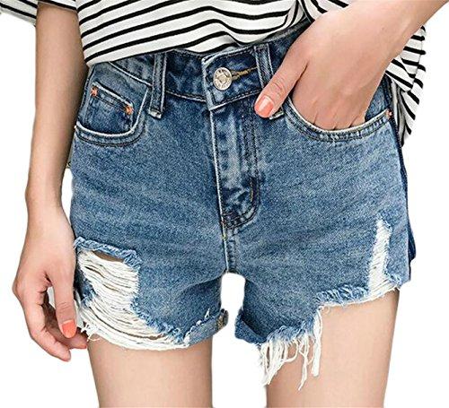スクランブル旅行者殺すFly Year-JP Womens Summer Casual High Waist Slim Fit Distressed Ripped Washed Denim Shorts