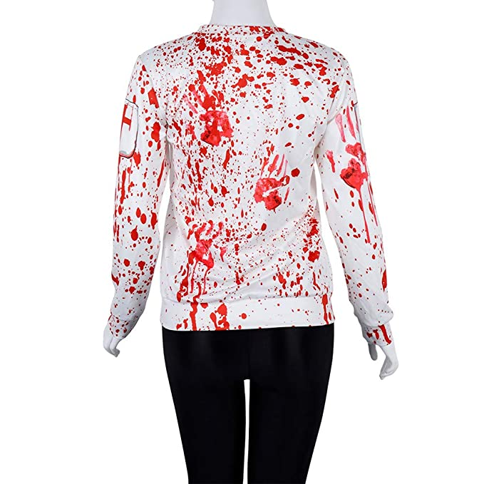 Amazon.com: kaifongfu Halloween Long Sleeve Pullover Tops Blouse for Blood Handprint Party: Clothing