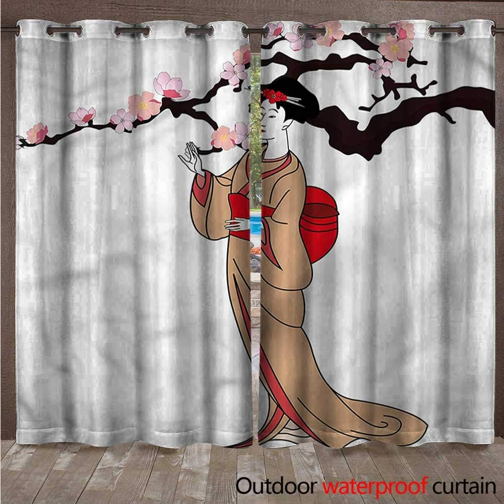 Cortina Japonesa con Ojales y Flores de Cerezo de Acuarela 108 x ...