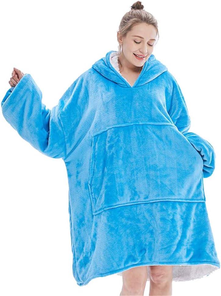LFANH Blanket Sweatshirt, Übergröße Hoodie Wearable Decke, Mikrofaser weiche warme Bequeme Riesenvordertasche für Erwachsene Männer Frauen Teens Freunde,Blau Blue