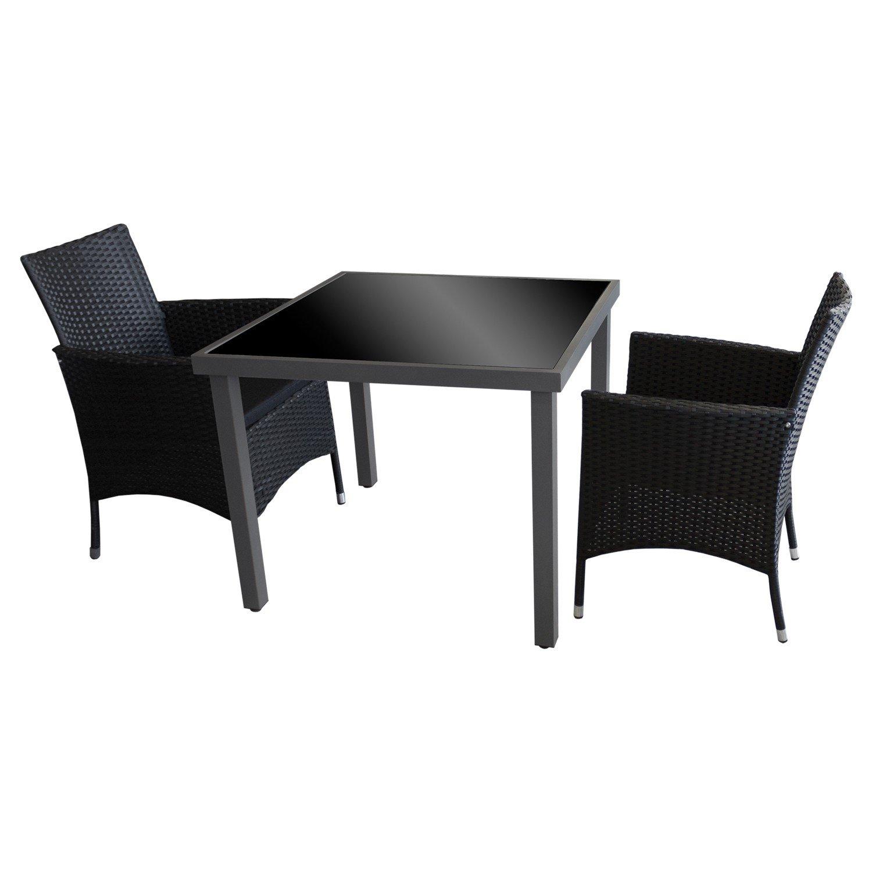 3tlg sitzgruppe balkonm bel bistro set gartenm bel glastisch anthrazit schwarze. Black Bedroom Furniture Sets. Home Design Ideas