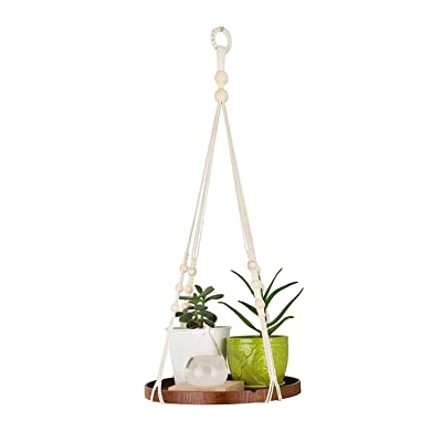 TIMEYARD Macrame Plant Hanger - Indoor Hanging Planter Shelf - Decorative Flower Pot Holder - Boho Bohemian Home Decor, in Box, for Succulents, Cacti, Herbs, Small Plants: Home & Kitchen