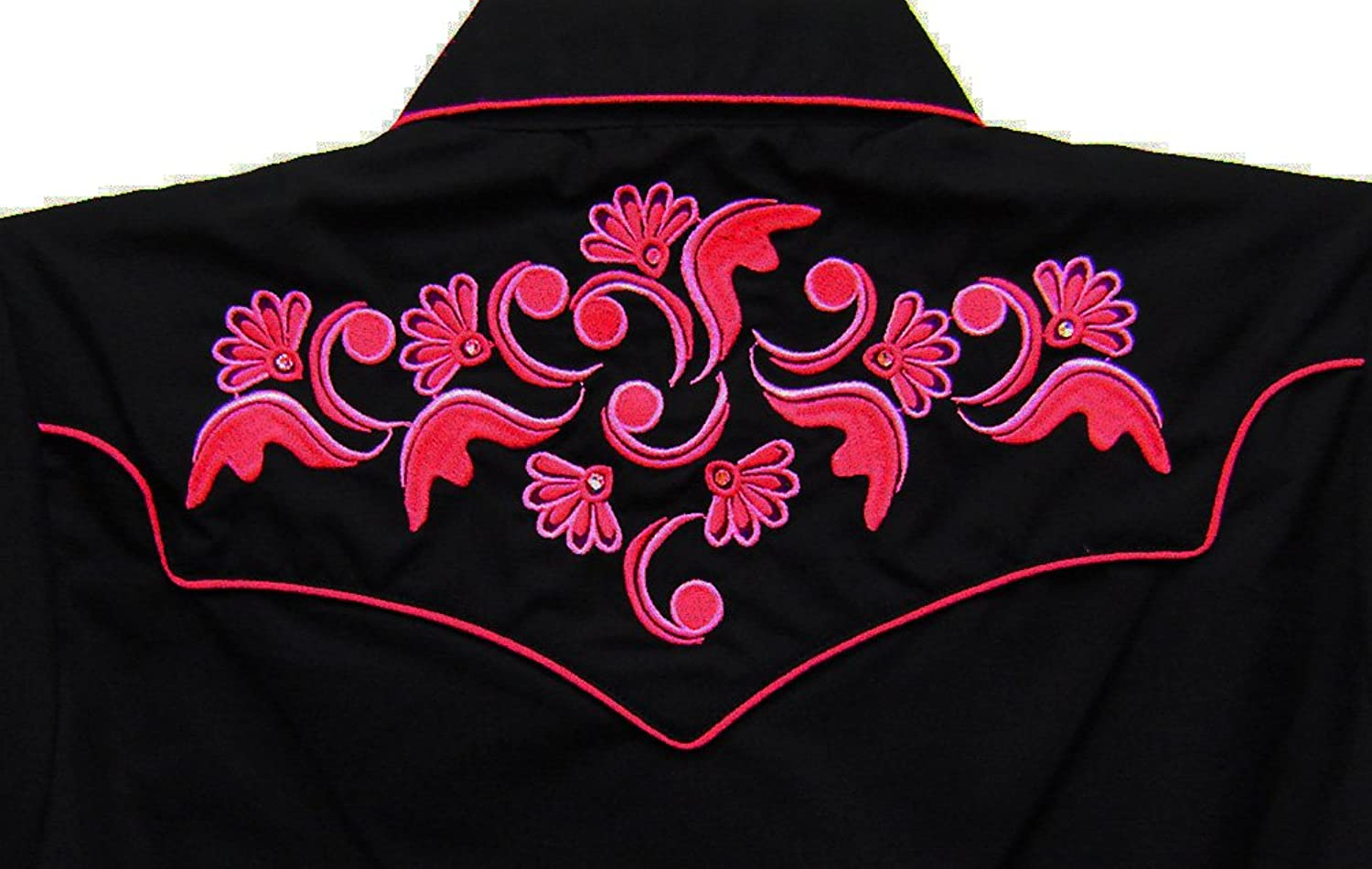 Modestone Women's Women's Embroidered Long Sleeve Shirt Floral Black