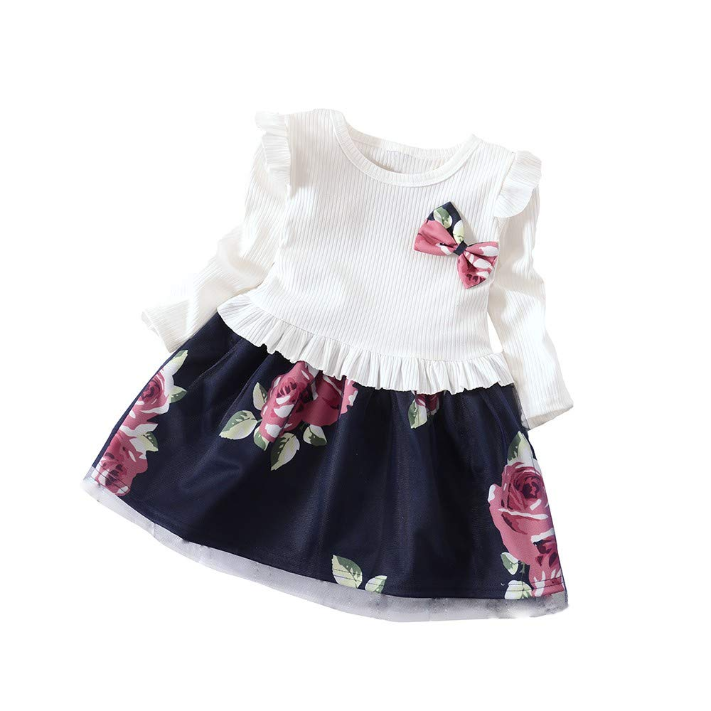 HOT!Girls Floral Dress Outfits Toddler Baby Long Sleeve Flower Print Skirt Outfits Bowknot Ruffled Romper Clothes