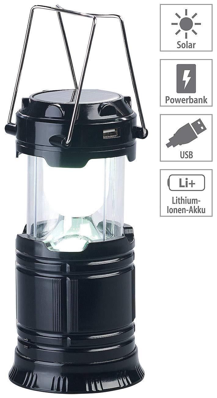 Powerbank Lampe Semptec Urban Survival Technology Taschenlampe Handlampe /& USB-Notlader; 80 Lumen 3in1-Solar-LED-Camping-Laterne