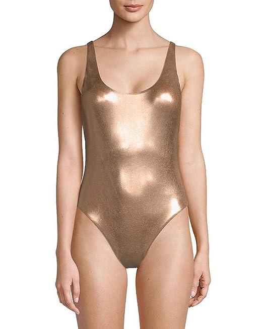 58bb7c7f81 Dolce Vita Women s Metallic Reversible One Piece Tank Swimsuit Gold ...