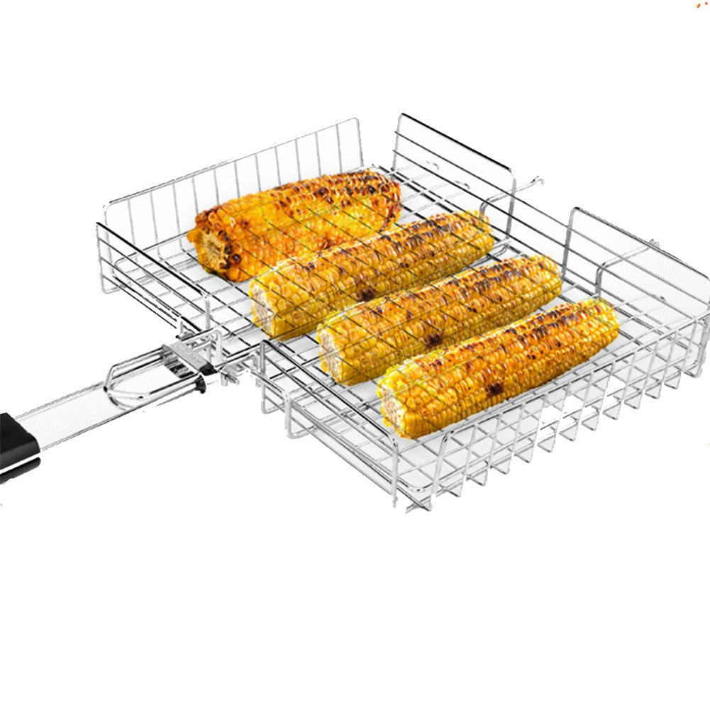 JOEPET Portable BBQ Grilling Basket 430 Stainless Steel with Removable Wooden Handle and Storage Bag for Fish,Shrimp,Chicken,Corn and Vegetables