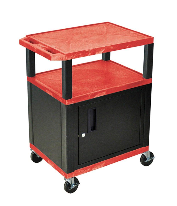 Green 42 H WILSON WT42GC2E-B 3-Shelf AV Cart with Cabinet Tuffy