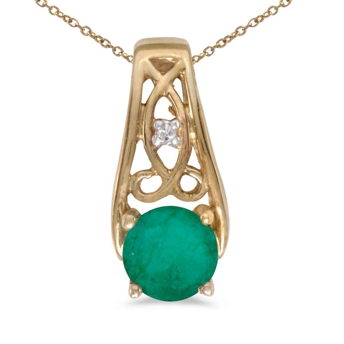 FB Jewels Solid 10k Yellow Gold Genuine Birthstone Round Gemstone And Diamond Pendant 0.42 Cttw.