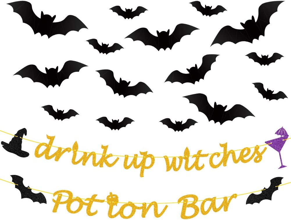 Halloween Banner Gold Glittery Drink Up Witches Banner,Potion Bar Banner,PVC 3D Decorative Scary Bats Wall Decal Wall Sticker 32 Pics Pics Halloween Eve Decor Home Window Decoration Set
