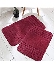 30x18 Inch/24X17 Inch Bath Rugs 2pcs Set Made of 100% Polyester Extra Soft and Non Slip Bathroom Mats Specialized in Machine Washable and Water Absorbent Shower Mat,Red