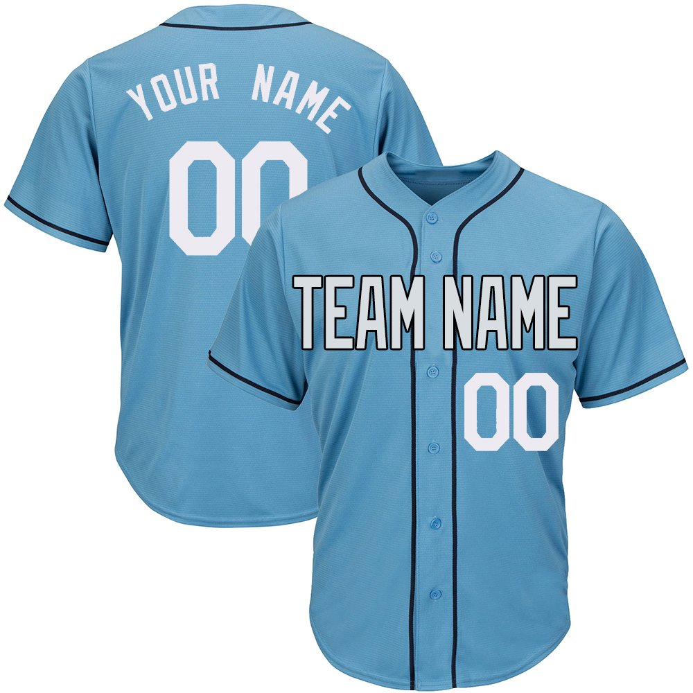 Custom Men's Light Blue Full Button Baseball Jersey with Stitched Team Name Player Name and Numbers,White and Black Size S