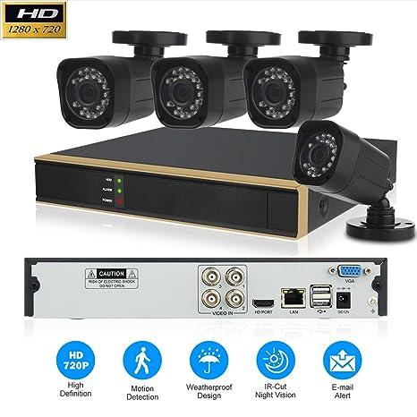 Kit Seguridad CCTV, 4 Canales 1080P DVR y 4 Cámaras de Seguridad Sistema de Vigilancia