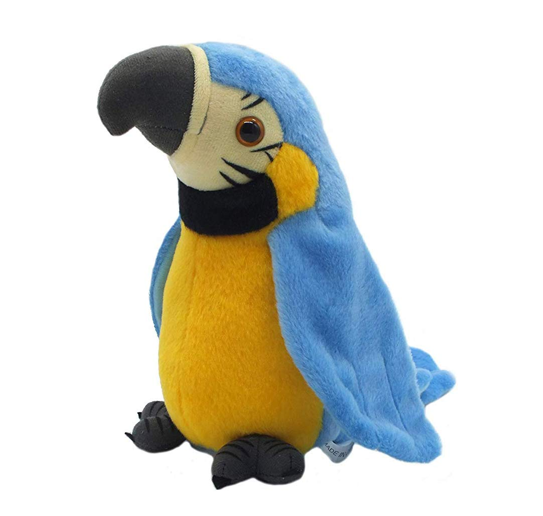 QDD Talking Parrot Repeats What You Say Mimicry Pet Toy Plush Buddy Parrot Children Gift Blue