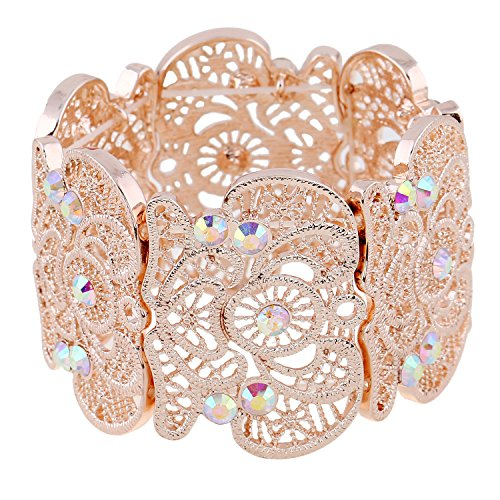 D EXCEED Womens Bohemian Lace Bracelet Vintage Filigree Cuff Bangle Bracelet Wide Stretch Rhinestone Bracelets for Ladies Rose Gold