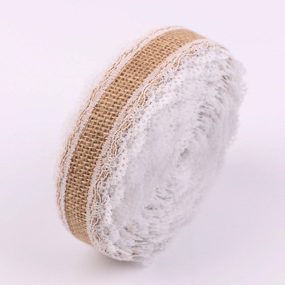 d/écoration de maison bricolage f/ête de mariage Monbedos Rouleaux de ruban en toile de jute naturelle avec dentelle pour bricolage dentelle en lin Longueur 10 m Largeur 2,5 cm Style 2