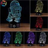 3D Optical Illusion Night Light - 7 LED Color Changing Lamp - Cool Soft Light Safe For Kids - Solution For Nightmares - Star Wars R2D2