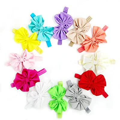 12pcs Girls Baby Cute Sat Headband Head Hair Band 12pcs Elastic Bow Band Accessories