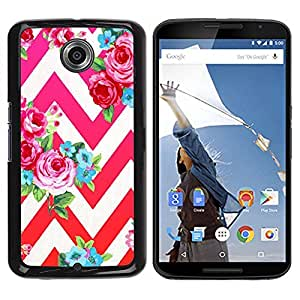 Be Good Phone Accessory // Dura Cáscara cubierta Protectora Caso Carcasa Funda de Protección para Motorola NEXUS 6 / X / Moto X Pro // Pink Red Chevron Feminine White