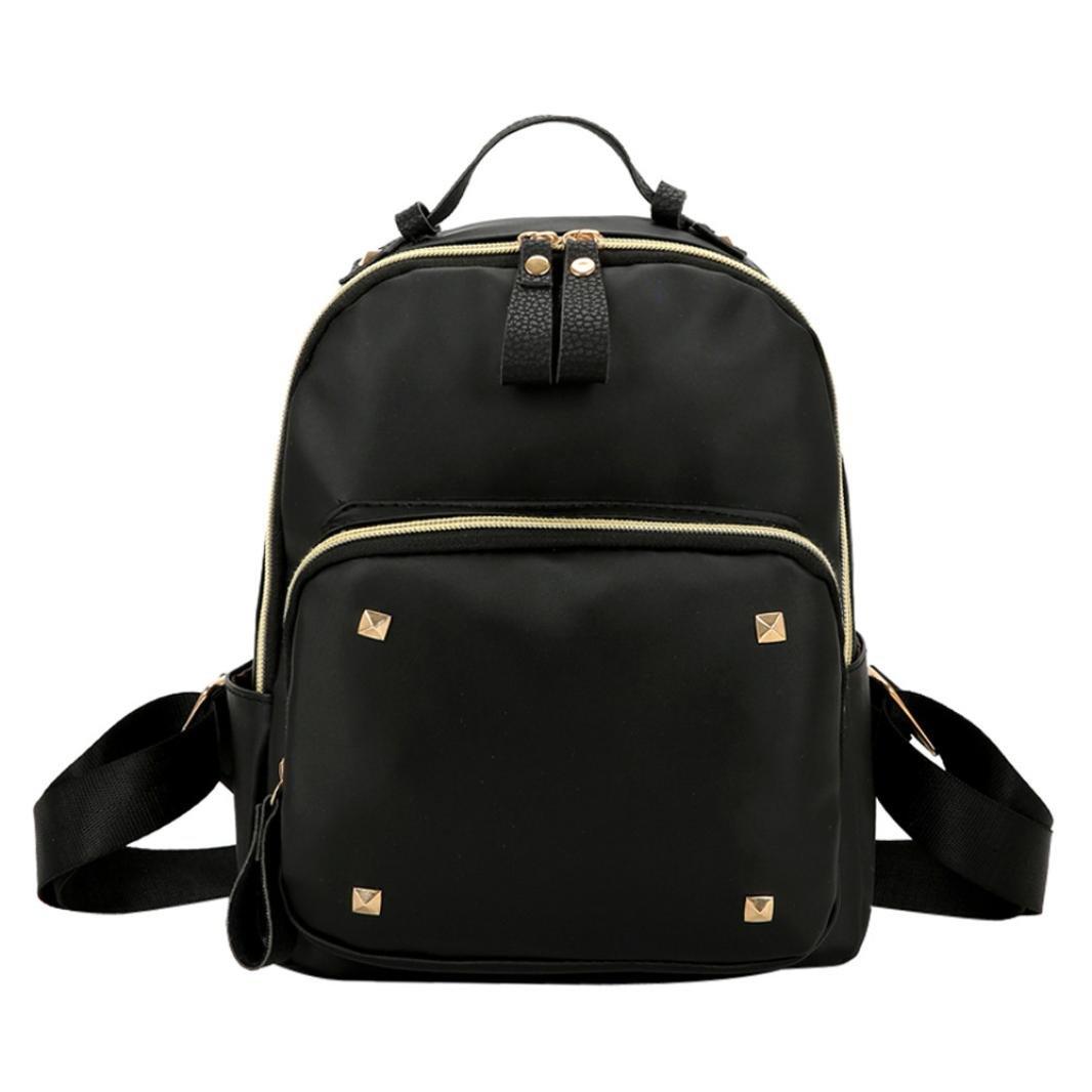 dragon868Shoulder Bag PU Rivet Decoration Mini Backpack femelle Black élèves sac à dos Noir